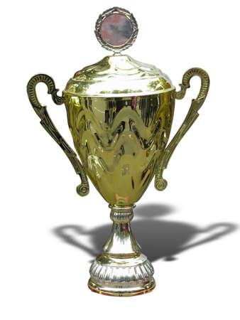 Gouden trofee cup met lege ruimte geïsoleerd op witte achtergrond Stockfoto
