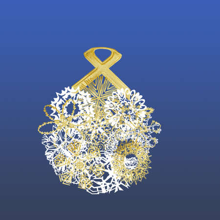 Gold and White Christmas ball concept over blue background Stock Photo - 6008118