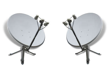 Communication concept two satellite antennas over white background photo