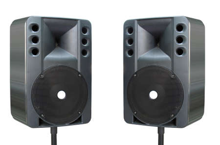 powerfull: two old powerfull concerto audio speakers isolated on white background Stock Photo