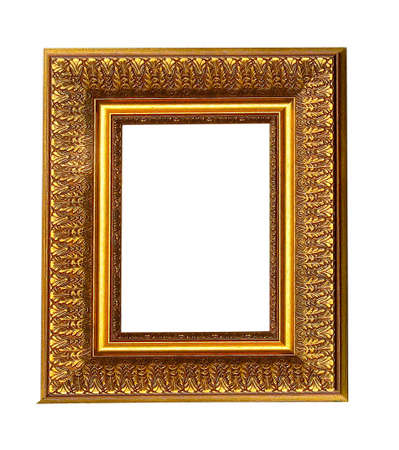 Old antique gold picture frame with a decorative pattern isolated over white background photo