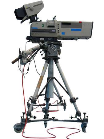 Professional de TV digital video cámara de estudio aislado sobre fondo blanco  Foto de archivo