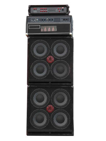 old powerfull stage concerto audio speakers and amplifiers isolated on white background photo