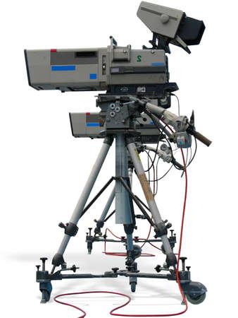 tripod: TV Professional studio digital video camera isolated on white background