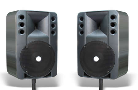 two old powerfull concerto audio speakers isolated on white background photo