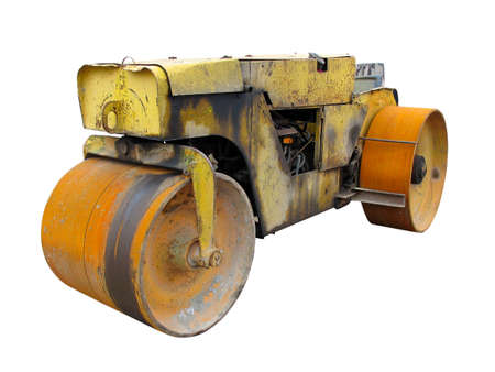 Old rusty yellow road roller isolated over white background Stock Photo - 8108464