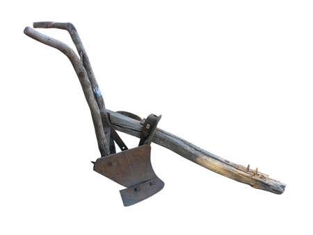 plowing: Agr�cola arado manual antiguo aislado sobre fondo blanco  Foto de archivo