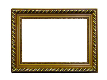 Old antique gold frame with pattern isolated over white background Stock Photo - 8163373