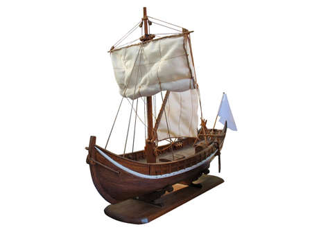 Wooden Antique ship isolated over white background photo