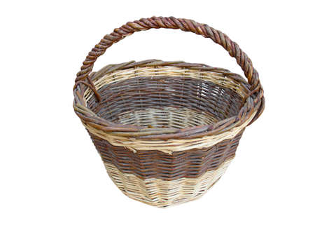 Old empty wooden basket isolated on white background photo