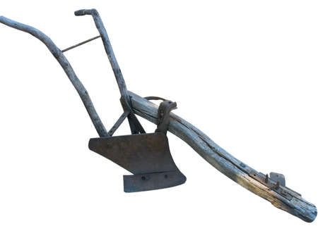 wood agricultural: Agricultural old manual plow isolated over white background