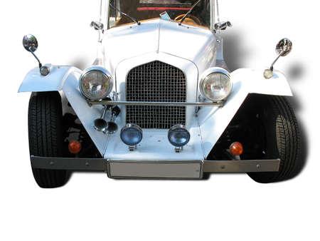 retro vintage white dream wedding car isolated over white background Stock Photo - 8289873