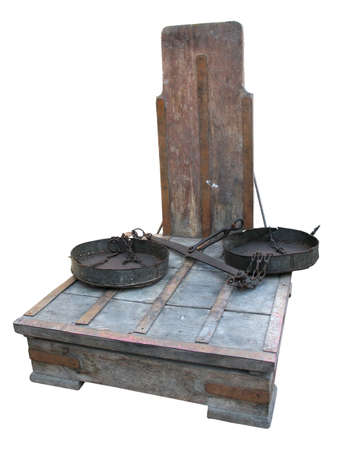 Antique rusty big weight scales isolated over white background photo