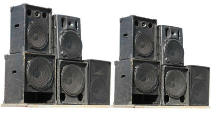 old powerful stage concerto audio speakers isolated on white background photo