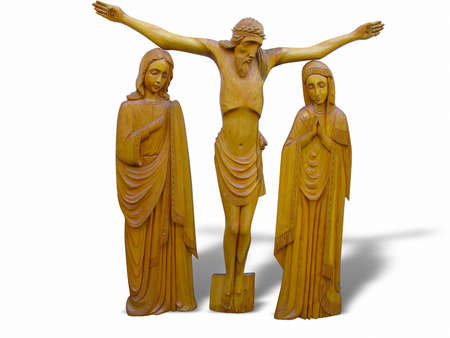 wooden orthodox religion bas-relief isolated over white background photo