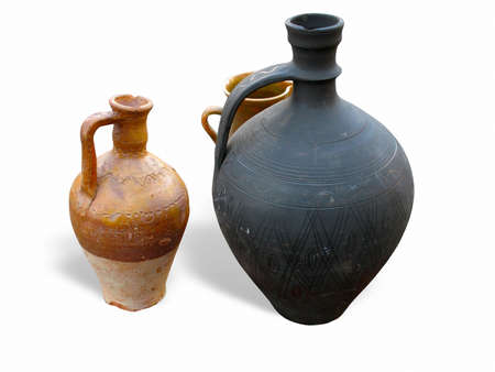antique clay pottery jug and bowl isolated over white background Stock Photo - 8347645