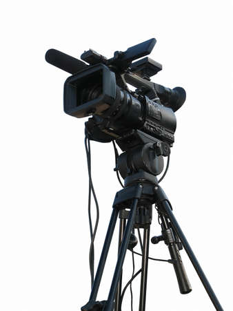 TV Professional studio digital video camera isolated on white background photo