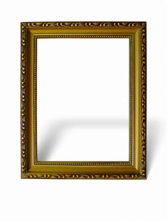 Old antique gold frame with pattern isolated over white background Stock Photo - 8347643