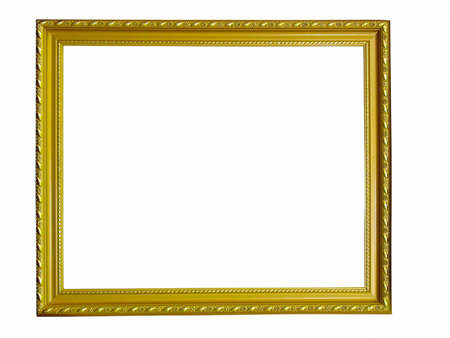 Old antique gold frame with pattern isolated over white background Stock Photo - 8347641