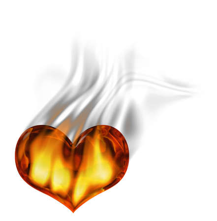 Red burning heart with flames and smoke over white background