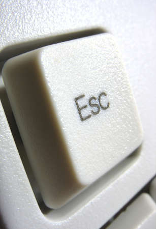 Macro of escape key on white computer keyboard