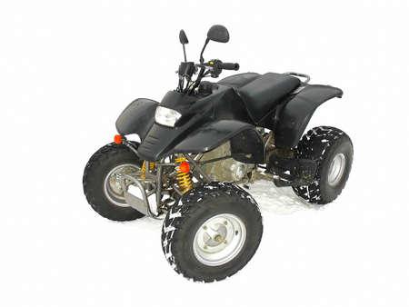 4 wheel: Veh�culo todos de terreno ATV negro sobre fondo blanco de nieve Foto de archivo