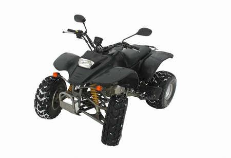 ATV Black All Terrain Vehicle on white snow background photo