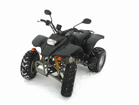 quad: ATV Black All Terrain Vehicle on white snow background