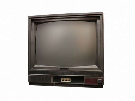 old fashioned tv: Vintage old tv isolated over white background