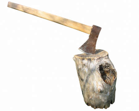 Axe in wooden log isolated on white background photo