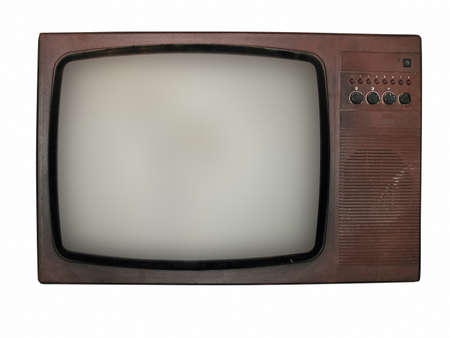 Vintage old tv isolated over white background photo