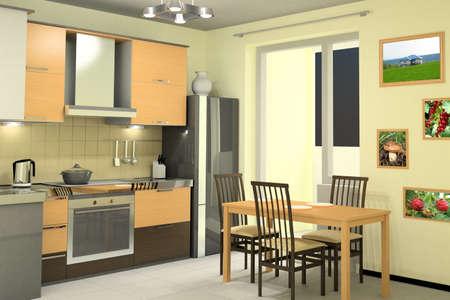 interieur van schone moderne keuken met apparatuur Stockfoto
