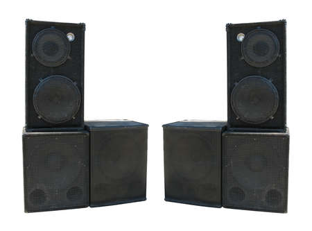 amps: old powerful stage concerto audio speakers isolated on white background Stock Photo