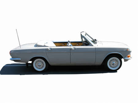 russian car: retro vintage white russian cabriolet car isolated over white background