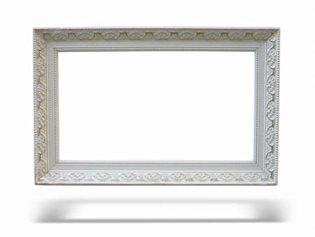 Old antique wooden picture frame with empty place for text or image over white background photo