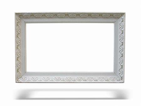 Oude antieke houten fotolijst met lege plaats voor tekst of afbeelding op een witte achtergrond Stockfoto