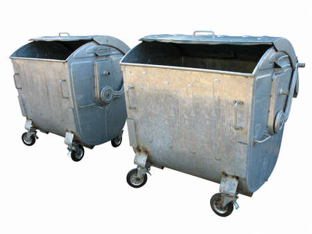 Two old metal garbage trash containers isolated on white background photo