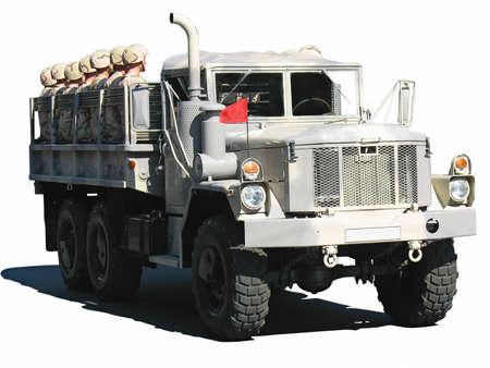 camouflage military truck with soldiers isolated over white background