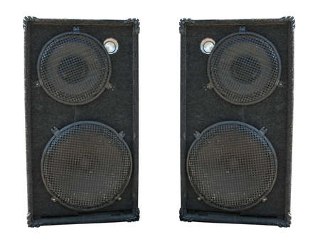 boom box: old powerful stage concerto audio speakers isolated on white background Stock Photo