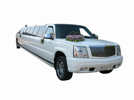 White wedding limousine isolated on white background Stock Photo - 11153375