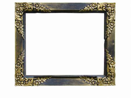 Vintage antik arany képkeret elszigetelt fölött fehér háttér