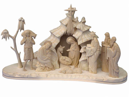 Christmas nativity scene with figures made out of wood photo