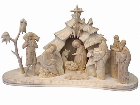 Kerstmis kerststal met figuren van hout gemaakt
