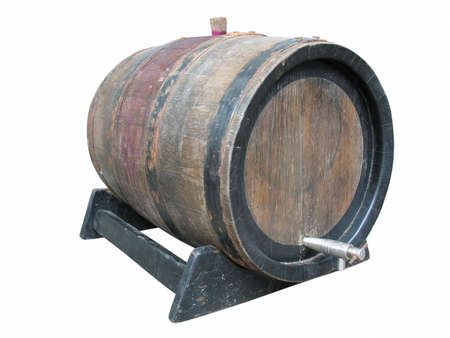 tun: Vintage old wooden barrel isolated over white background Stock Photo