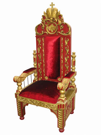 Royal king red and golden throne chair isolated over white photo