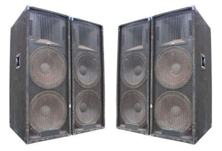 power giant: old powerful stage concerto audio speakers isolated on white background Stock Photo