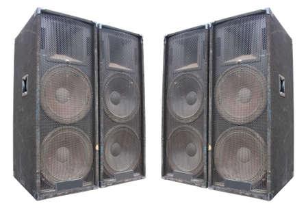 oude krachtige stadium concerto luidsprekers geïsoleerd op witte achtergrond Stockfoto