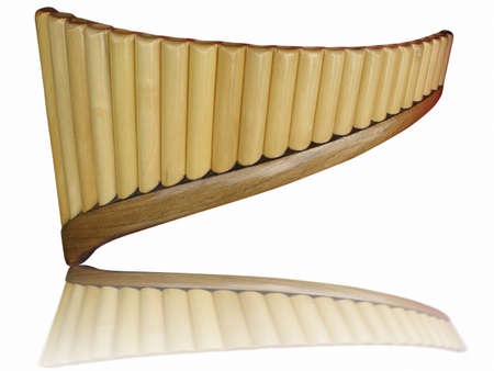 panpipe: Pan flute pipes with reflection isolated on white background