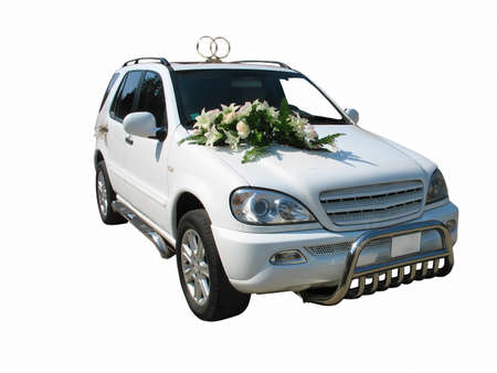 White wedding limousine isolated on white background Stock Photo - 11260023