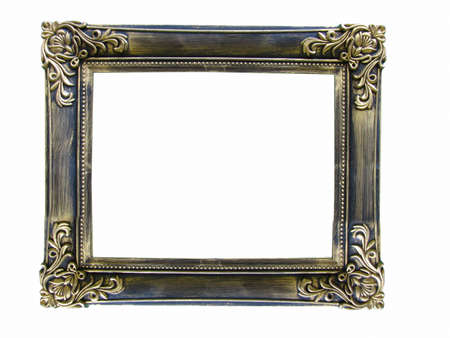 rectangle frame: Vintage antique gold picture frame isolated over white background